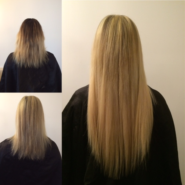 Extensions keratine blond